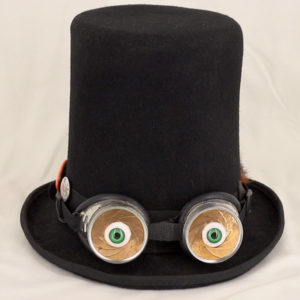 Creeps Eyes mounted on a top hat