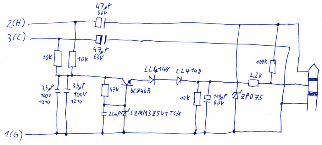 Microphone phantom adapter: 48V to 3V conversion. Schematic
